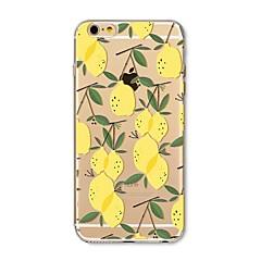 Etui til iphone 7 plus 7 cover gennemsigtigt mønster bagside cover frugt flise citron soft tpu til apple iphone 6s plus 6 plus 6s 6 se 5s