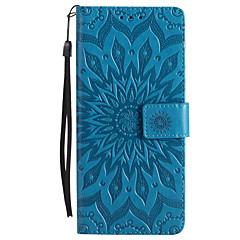 voor case cover kaarthouder portemonnee met tribune flip reliëf volledige body case bloem hard pu leer voor Sony Sony Xperia XZ Sony