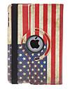 Rotatable Retro Design Pattern bandeira dos EUA Capa de Couro PU com suporte para mini iPad