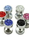 1pcs 8mm zircon titane Boucles de motifs d'acier haltère (couleurs assorties)
