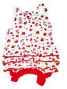 개 드레스 레드 강아지 의류 여름 과일