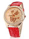 Женские Модные часы Имитация Алмазный Кварцевый PU Группа Блестящие Бабочка Коричневый