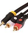 jsj® 1,8 5.904ft 3,5 мм стерео штекер 2 RCA мужской аудио кабель - черный