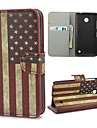 Retro USA American Flag Leather Wallet Case with Stand and Card Slot for Nokia Lumia 630