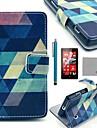 Coco fun® padrão azul quebra-cabeça de couro pu caso de corpo inteiro com protetor de tela, caneta e ficar para Lumia Nokia N520