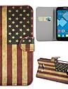 novo caso dobrável magnética chegou retro padrão de bandeira dos EUA de couro suporte para Alcatel One Touch pop c7