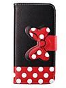 padrão de pontos brancos bowknot fivela de couro pu caso de corpo inteiro para o iPhone 6