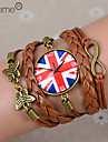 Lureme®British National Flag Clock Leather Braided Bracelet