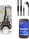 Eiffel Tower Pattern PU Leather Full Body Case with Headset and Protective Film 2 Pcs for Samsung Galaxy Ace 4 G313H