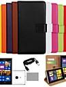 Для Кейс для Nokia Кошелек / Бумажник для карт / со стендом Кейс для Чехол Кейс для Один цвет Твердый Искусственная кожа Nokia