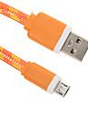 USB 2.0 Micro USB 2.0 Plat Tresse Cable Pour 15 cm Nylon