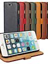 Pour Coque iPhone 6 Coques iPhone 6 Plus Porte Carte Avec Support Coque Coque Integrale Coque Couleur Pleine Dur Vrai Cuir pouriPhone 6s