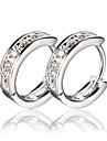 Hoop Earrings Silver Simulated Diamond Screen Color Jewelry 2pcs