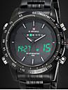 alarme chronomètre chrono horloge hommes acier pleine conduit les hommes de montres à quartz numériques armée militaire montres bracelet