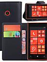 용 노키아 케이스 지갑 / 카드 홀더 / 스탠드 케이스 풀 바디 케이스 단색 하드 인조 가죽 Nokia Nokia Lumia 520