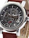 WINNER 남성 손목 시계 기계식 시계 달력 오토메틱 셀프-윈딩 PU 밴드 럭셔리 블랙 브라운