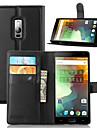 Pour Coque OnePlus Portefeuille Porte Carte Avec Support Clapet Coque Coque Integrale Coque Couleur Pleine Dur Cuir PU pour OnePlusOne