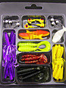 45Pcs/Set Mix Soft Lure&Gig Head Hook Fishing Lure Fishing Bait 35Soft Bait+ 10Gig * 1 Sets W21031