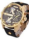 Мужской Армейские часы Наручные часы Календарь С двумя часовыми поясами Кварцевый Кожа Группа Cool Черный Коричневый Хаки