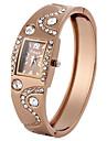 Женские Модные часы Имитационная Четырехугольник Часы Имитация Алмазный Кварцевый Позолоченное розовым золотом PU ГруппаЖемчуг Элегантные