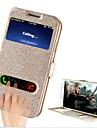 Para Samsung Galaxy Capinhas Com Suporte / com Visor / Flip Capinha Corpo Inteiro Capinha Cor Unica Couro PU Samsung S4