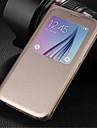 용 삼성 갤럭시 케이스 윈도우 / 플립 케이스 풀 바디 케이스 단색 인조 가죽 Samsung S6