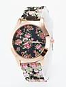 Женские Модные часы Повседневные часы Кварцевый силиконовый Группа Цветы Разноцветный