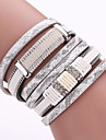 New Layers Of Pu Leather Fashion Magnet Buckle Bracelet Men And Women With Drill Jewelry Christmas Gifts