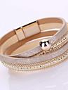Femme Chaines & Bracelets Bracelets Mode Fait a la main Multicouches bijoux de fantaisie Cuir Strass Imitation Diamant Alliage Forme