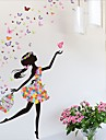 Flower Faerie Dance Girl Wall Stickers Living Room Bedroom Backdrop Romantic Glass Decorative Stickers