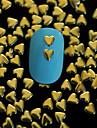 100PCS 4MM*4MM Golden Heart Metal Rivet Nail Art Decoration