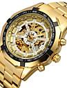 FORSINING 남성 패션 시계 손목 시계 기계식 시계 중공 판화 오토메틱 셀프-윈딩 스테인레스 스틸 밴드 럭셔리 골드