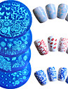 7pcs/set Hot Sale Fashion Nail Art Stamping Plate Colorful Flower Butterfly Lovely Heart Design Manicure Stencils Nail Tool STZ-6&9&11&12&14&15&19