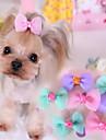 강아지 헤어 악세서리 강아지 의류 귀여운 캐쥬얼/데일리 리본매듭 퍼플 블루 핑크