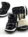 강아지 신발 & 부츠 따뜻함 유지 솔리드 블랙 퍼플 퓨샤 블루