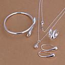 hesapli Kol Bileziği-Kadın's Takı Seti - Gümüş Kaplama Damla, Gözyaşı Temel, Moda Dahil etmek Gümüş Uyumluluk Parti Doğumgünü Nişan / Yüzükler / Kolczyki / Kolyeler / Bilezik