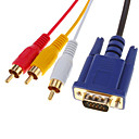 voordelige VGA-HDMI V1.3 Male naar 3 RCA + VGA Male HD15 Video Audio AV Component kabel (1.5M)