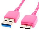 hesapli USB Kabloları-Micro USB 3.0 USB 3.0 M / M Kablo Net-Kaplama Samsung Note için Siyah 3 (1M)