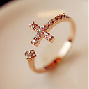 cheap Rings-Women's Band Ring - Rhinestone, Alloy Cross Open Adjustable Golden For Party Daily