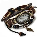 baratos Relógios Femininos-Mulheres Bracele Relógio Relógio Casual Couro Banda Amuleto / Boêmio / Fashion Preta