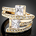 Buy Statement Rings Zircon Cubic Zirconia Gold Plated Simulated Diamond Alloy Fashion Screen Color Jewelry Party 1pc