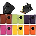 cheap Cases / Covers for Nokia-Case For Nokia Lumia 1020 with Stand Full Body Cases Solid Colored Hard Genuine Leather for Nokia Lumia 1020