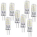 baratos Outras Luzes LED-8pçs 1 W 100-120 lm G4 Lâmpadas Espiga T 24 Contas LED SMD 3014 Regulável Branco Quente 12 V