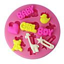hesapli Fırın Araçları ve Gereçleri-Dört-c silikon fincan kek kalıbı erkek kız ve bebek sugarpaste kalıp, fondan dekorasyon araçları renk pembe malzemeleri