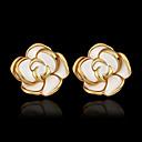 ieftine Cercei-Pentru femei Cercei Stud 18K Placat cu Aur Placat Auriu cercei Trandafiri Floare Bijuterii Auriu Pentru