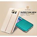hesapli Galaxy S Serisi Kılıfları / Kapakları-Pouzdro Uyumluluk Samsung Galaxy Samsung Galaxy Kılıf Satandlı Pencereli Flip Tam Kaplama Kılıf Tek Renk PU Deri için S6