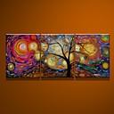 abordables Stickers-Peint à la main Abstrait Format Vertical Toile Peinture à l'huile Hang-peint Décoration d'intérieur Trois Panneaux
