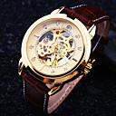 זול שעוני גברים-בגדי ריקוד גברים שעון יד שעון מכני אוטומטי נמתח לבד עור חום 30 m עמיד במים חריתה חלולה אנלוגי פאר - שחור וקפה חום /  לבן חום-זהב / מתכת אל חלד