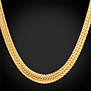 hesapli Bilezikler-Kadın's Tıknaz Gerdanlıklar / Zincir Kolyeler - Platin Kaplama, Altın Kaplama Moda Gümüş, Gül, Altın Kolyeler Mücevher Uyumluluk Düğün, Parti, Günlük