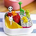 رخيصةأون أدوات الحمام-10PCS حزمة الحيوان حديقة الحيوان موضوع الغذاء يختار الشوك حزب وجبة خفيفة